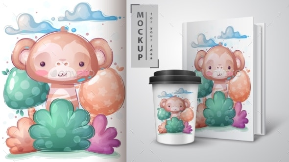 Monkey in Bush Poster and Merchandising - Animals Characters