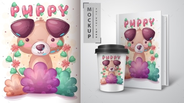 Dog in Bush Poster and Merchandising - Animals Characters