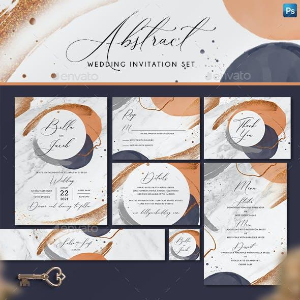 Abstract Wedding Invitation Set