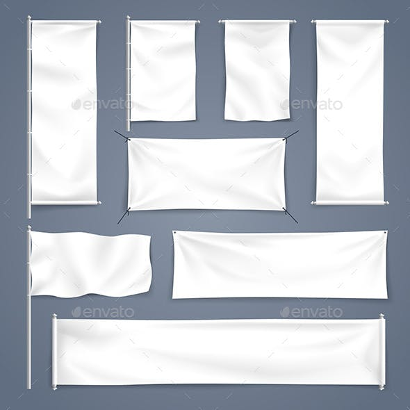 White Blank Textile Banner Illustration