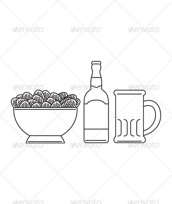 Beer Bottle Mug Bowl Potato Chips - Food Objects