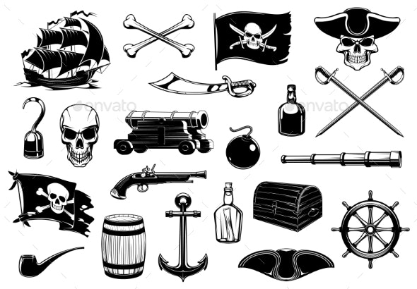 Pirate Icons of Skull Chest Treasure Map and Ship - Objects Vectors