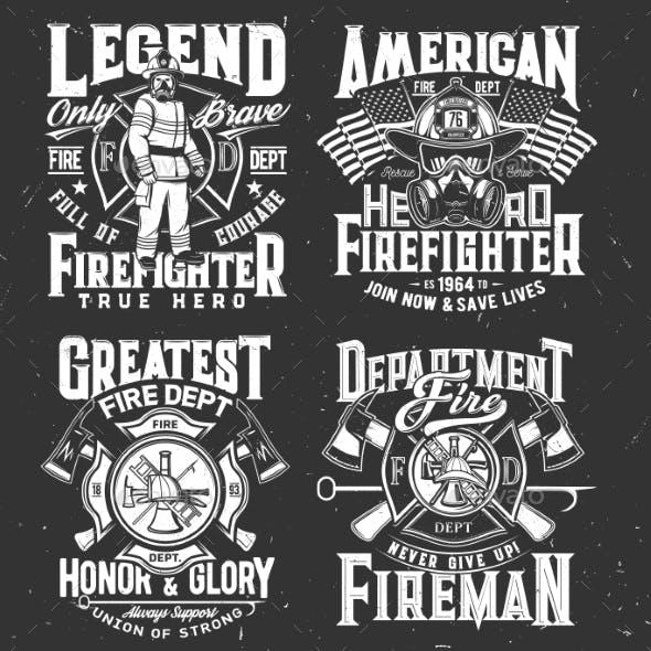 Firefighter Tshirt Print Firefighting Department