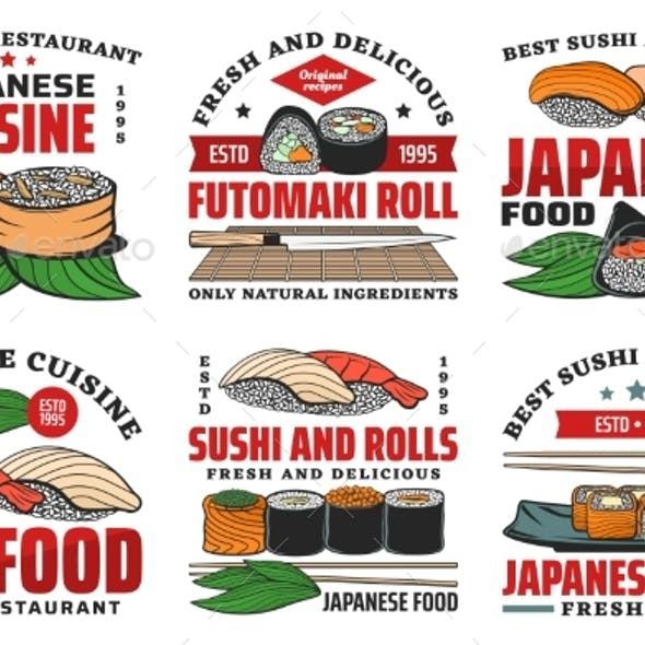 Japanese Food Restaurant Icons with Sushi Rolls