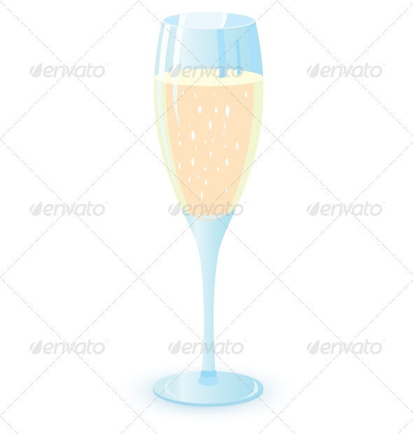 Vector illustration of champagne glasses - Food Objects