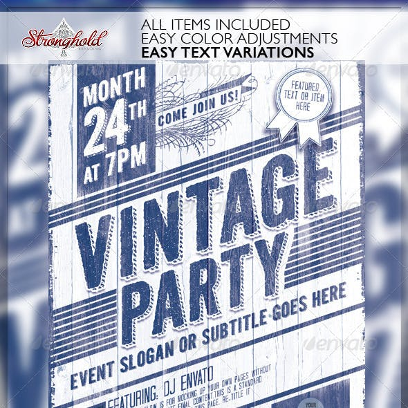 Vintage Party Wood Flyer Template