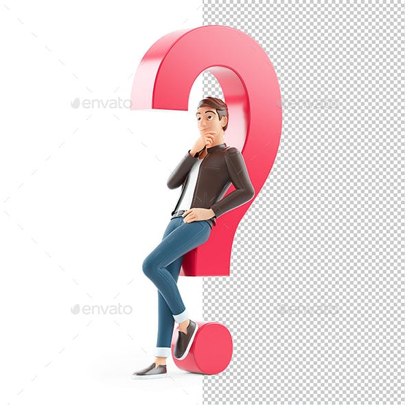 3D Cartoon Man Leaning under Question Mark