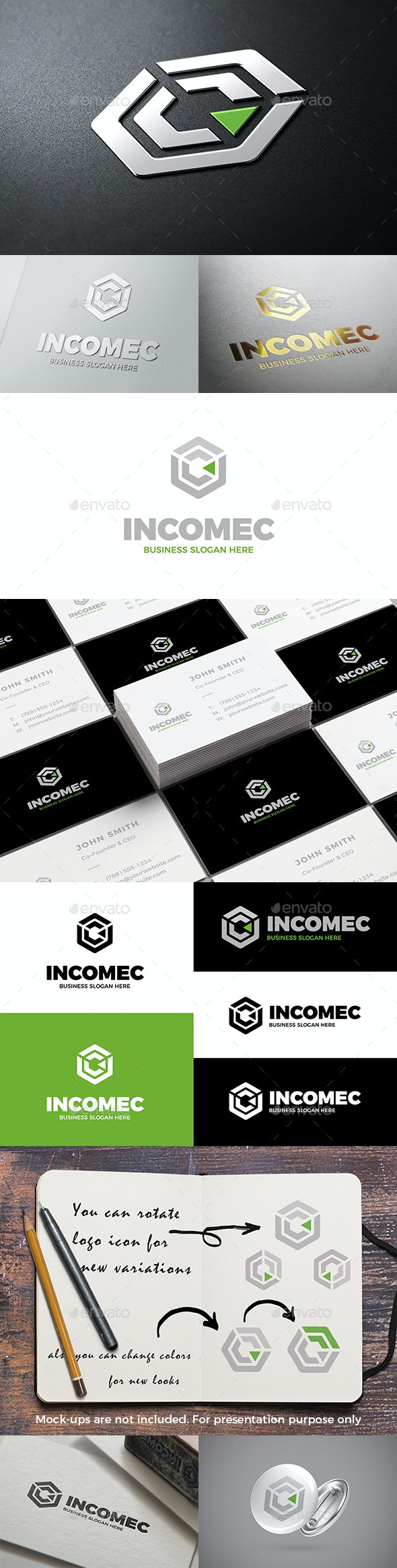 Abstract Cube Income C Symbol Logo - Abstract Logo Templates
