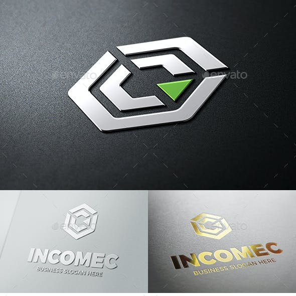 Abstract Cube Income C Symbol Logo