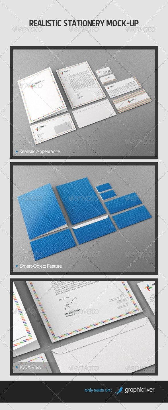 Realistic Stationery Mock-Up - Stationery Print