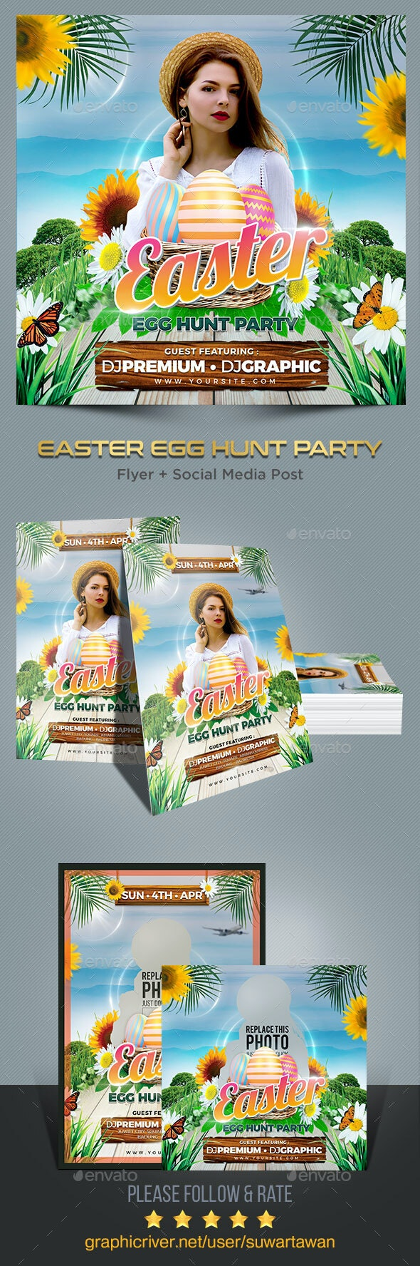 Easter Egg Hunt Party Flyer Template - Print Templates
