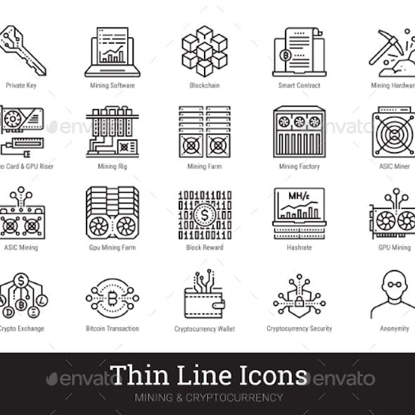 Mining Cryptocurrency Blockchain Linear Icons