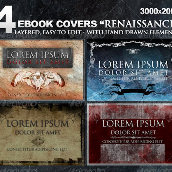 """4 eBook covers """"Renaissance"""" with hand-drawn stuff"""