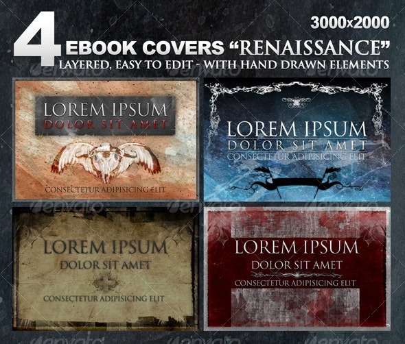 """4 eBook covers """"Renaissance"""" with hand-drawn stuff - Miscellaneous Web Elements"""