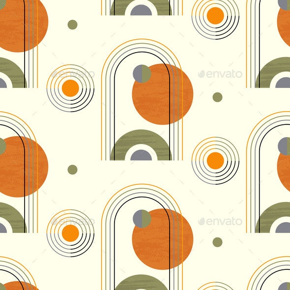 Abstract Geometric Seamless Pattern with Circles - Miscellaneous Vectors
