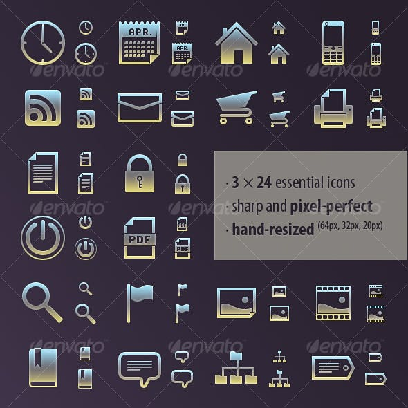 Essential Icon Set · 3 Hand-Made Sizes
