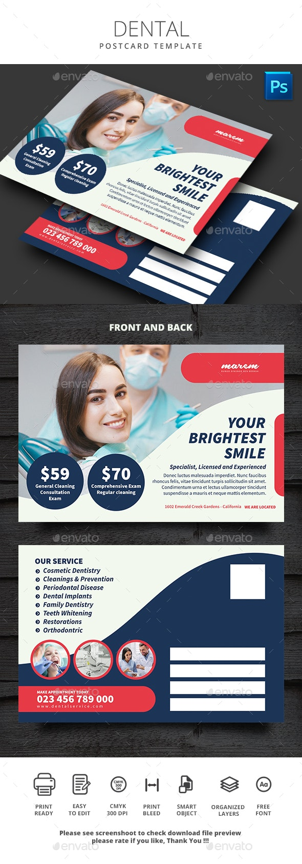 Dental Postcard - Cards & Invites Print Templates