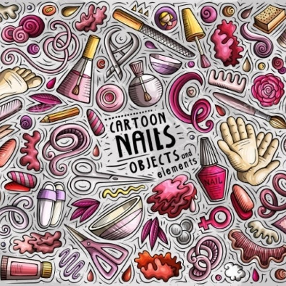 Doodle Cartoon Set of Nail Salon Objects and
