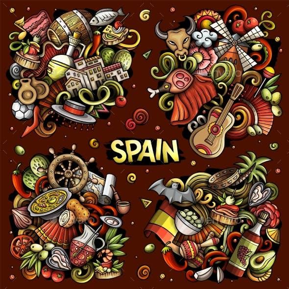 Spain Cartoon Vector Doodle Designs Set