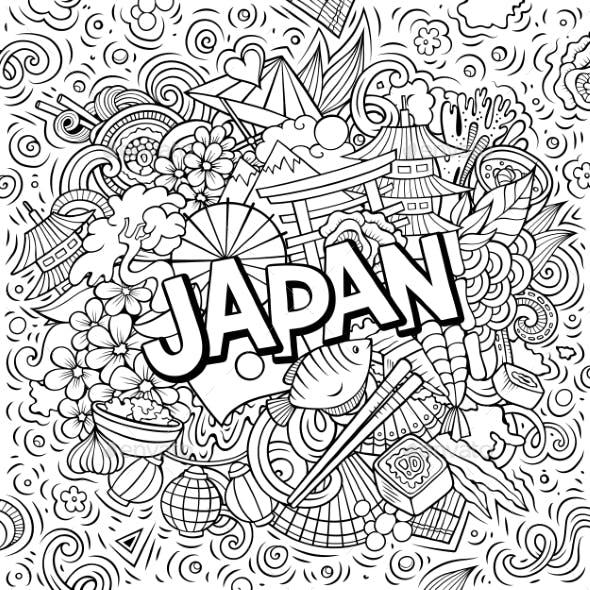 Japan Hand Drawn Cartoon Doodles Illustration