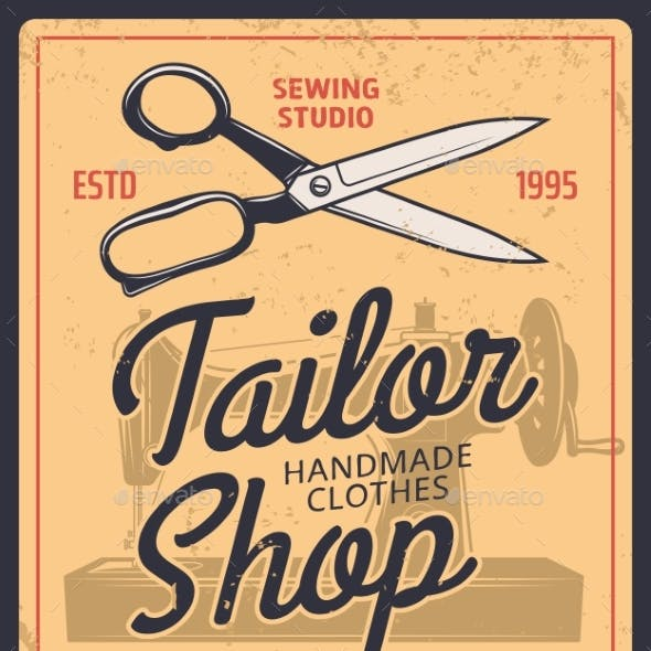 Tailor Shop Retro Vector Poster with Scissors