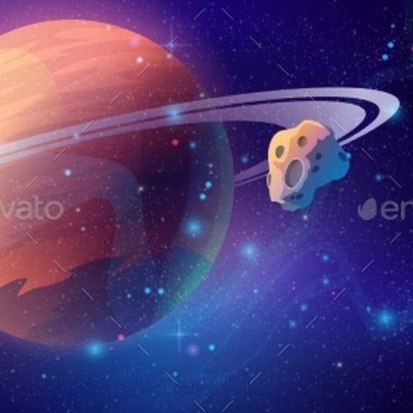 Saturn Space Background with Asteroid Outer Space