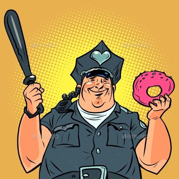 Fat Cop with a Doughnut Pop Art - Food Objects