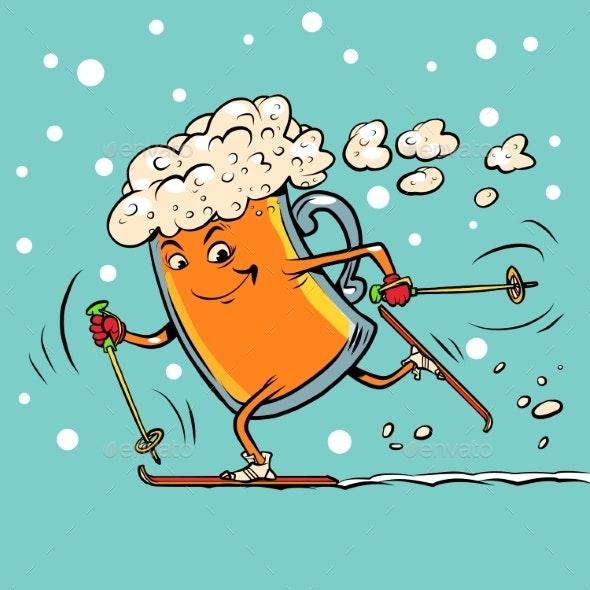 Beer Mug Runs on Skis - Food Objects