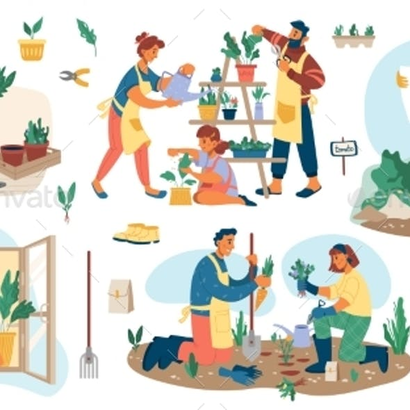 Gardening and Planting Outside Man Woman Gardeners