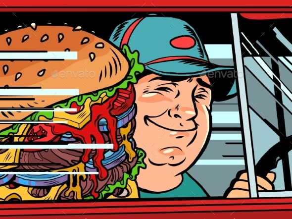 Courier in the Car with a Burger - Food Objects