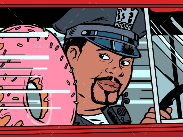 A Cop in a Car with a Doughnut - Food Objects