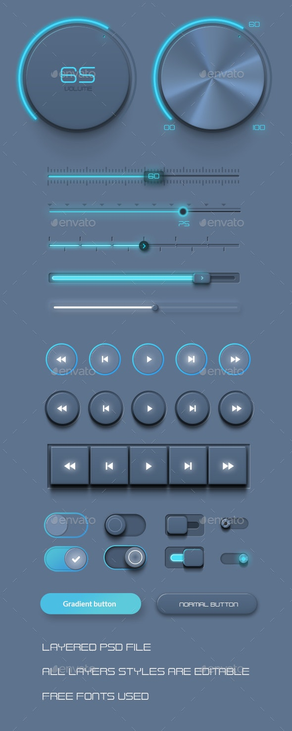 Realistic UI Kit - Audio Player Assets - User Interfaces Web Elements