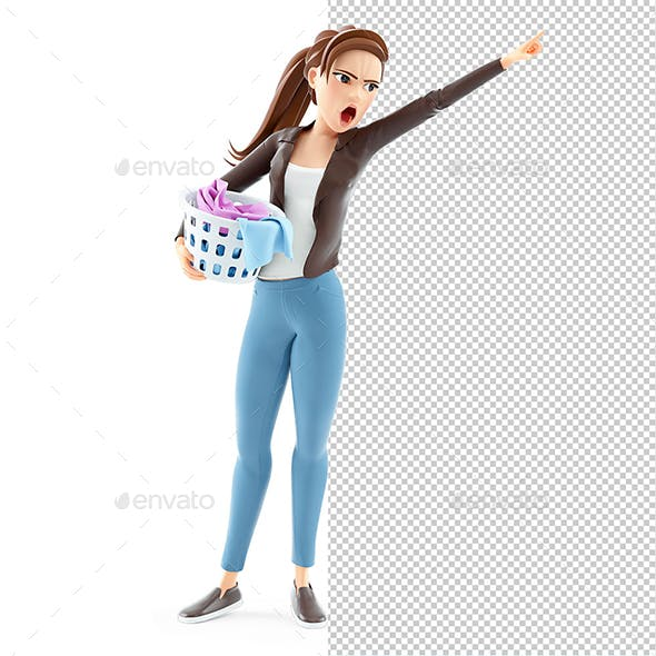 3D Angry Cartoon Woman Carrying Laundry Basket