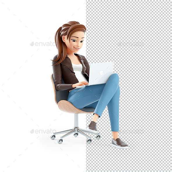 3D Cartoon Woman Sitting in Chair with Laptop