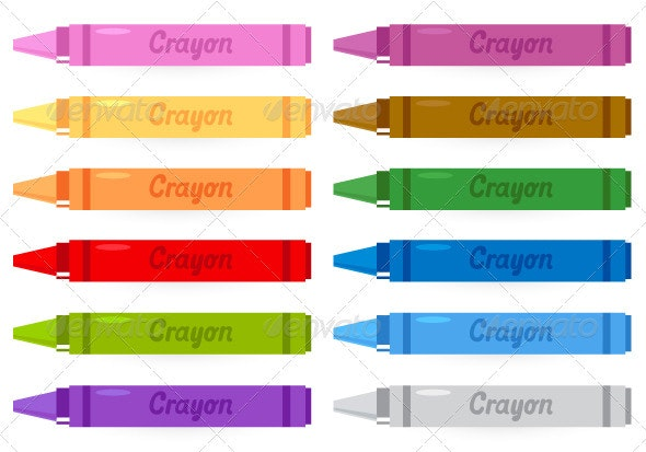 Colorful crayons set isolated on white - Man-made Objects Objects
