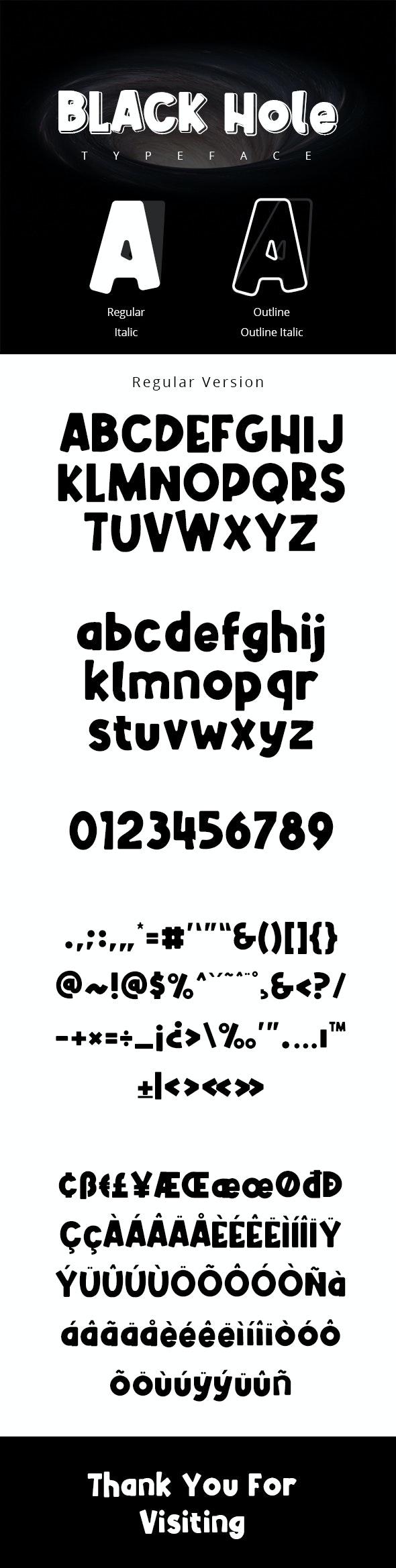 Black Hole Typeface - Futuristic Decorative