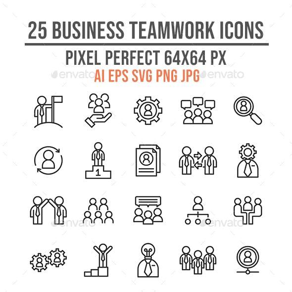 25 Business Teamwork Success Outline Icon Set