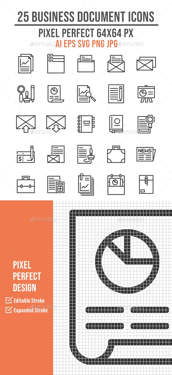 25 Business Document Outline Icons - Business Icons