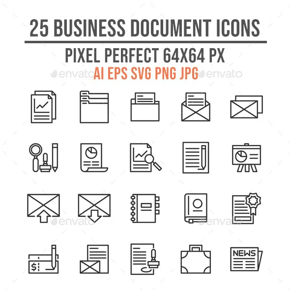 25 Business Document Outline Icons
