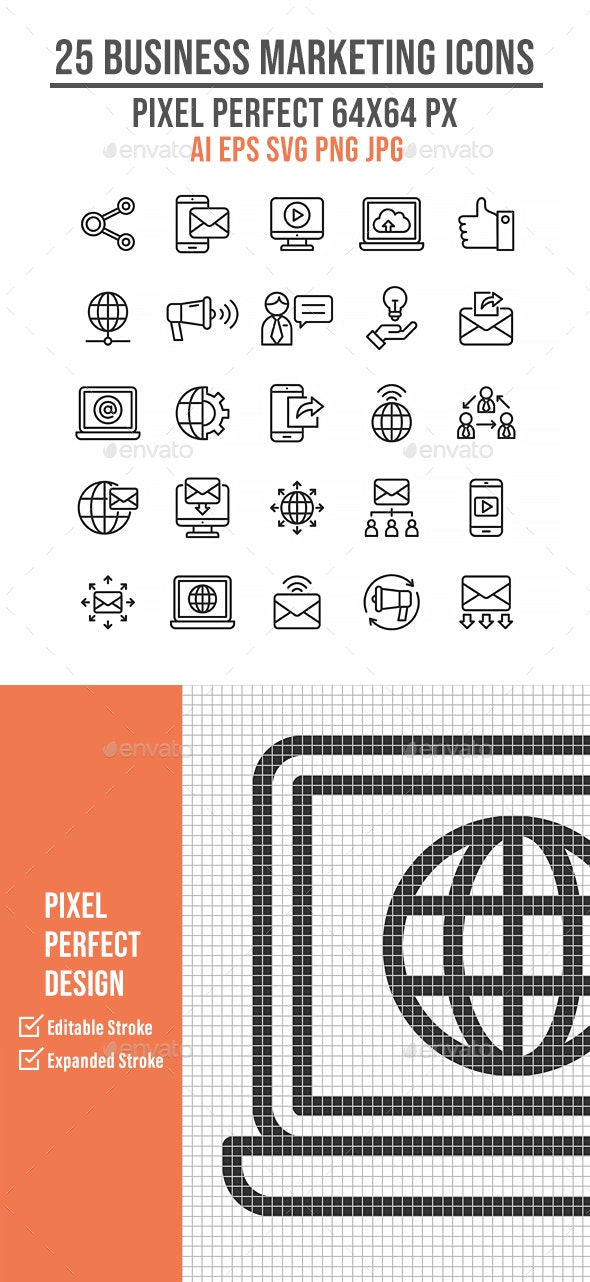 25 Business Marketing Outline Icons - Business Icons