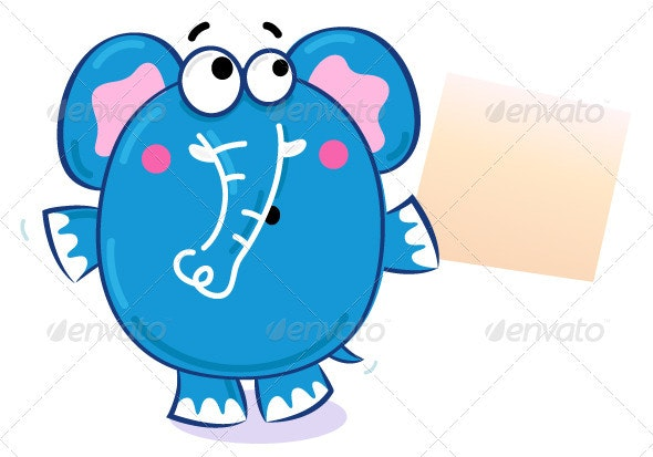 Cartoon elephant with blank banner - Animals Characters