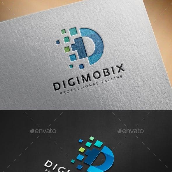 Digital Pixel D Letter Logo