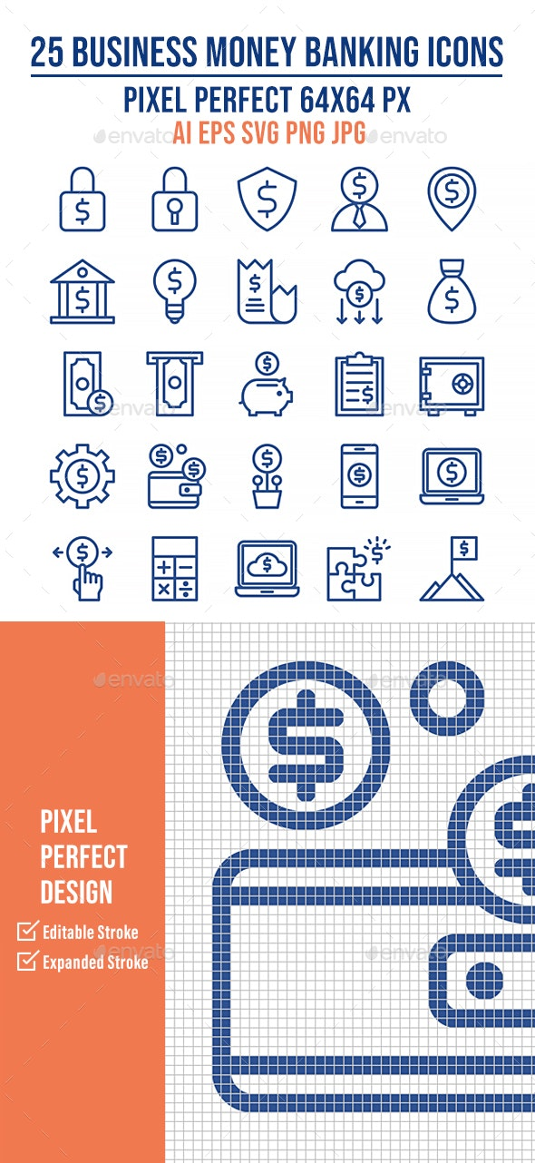 25 Business Money Banking Outline Icons - Business Icons