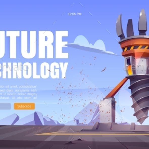 Future Technology Cartoon Landing with Drill Rig