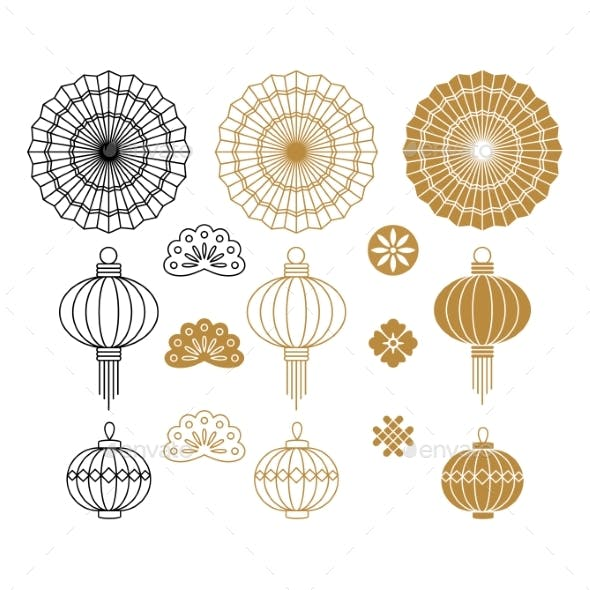 Set of Chinese Hand Fan and Lantern for Greeting