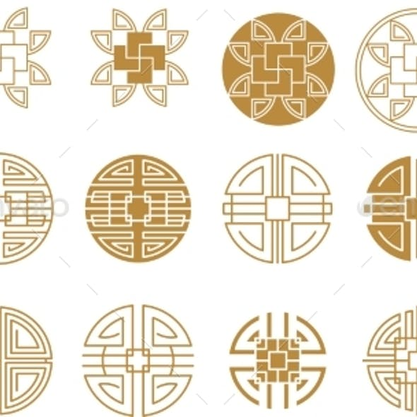 Chinese Round Frame and Outline Elements