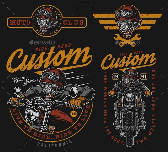 Colorful Vintage Motorcycle Designs Set - Animals Characters
