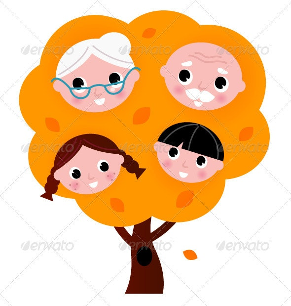 Autumn family tree isolated on white - People Characters
