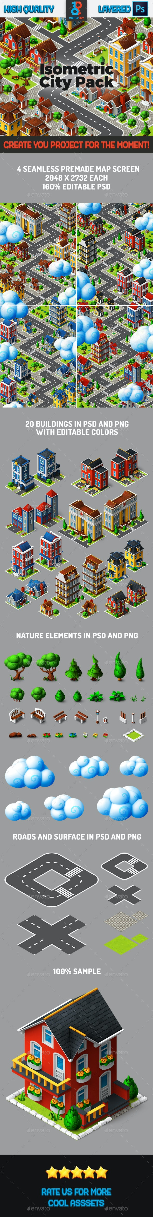 Casual Isometric City Backgrounds Pack - Backgrounds Game Assets