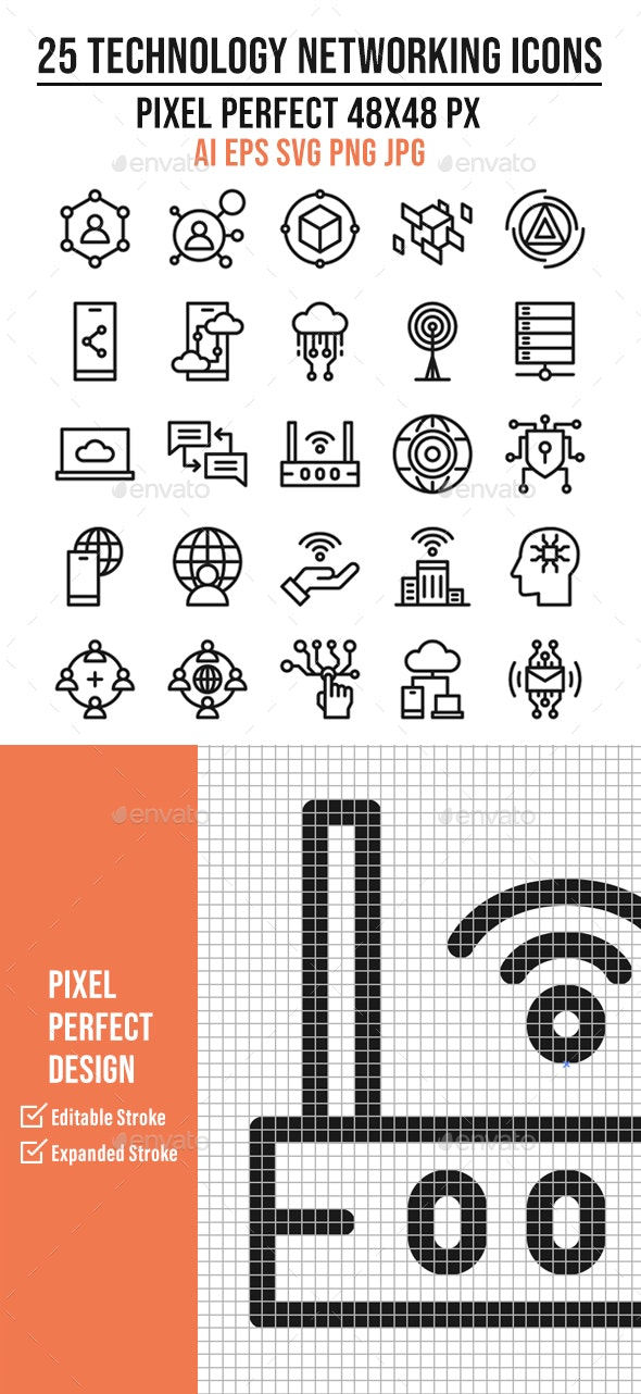 25 Technology Networking Outline Icon Set - Technology Icons